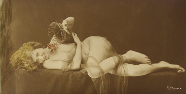 351: Charles Gilhousen, Prone Nude Female with Basket.-