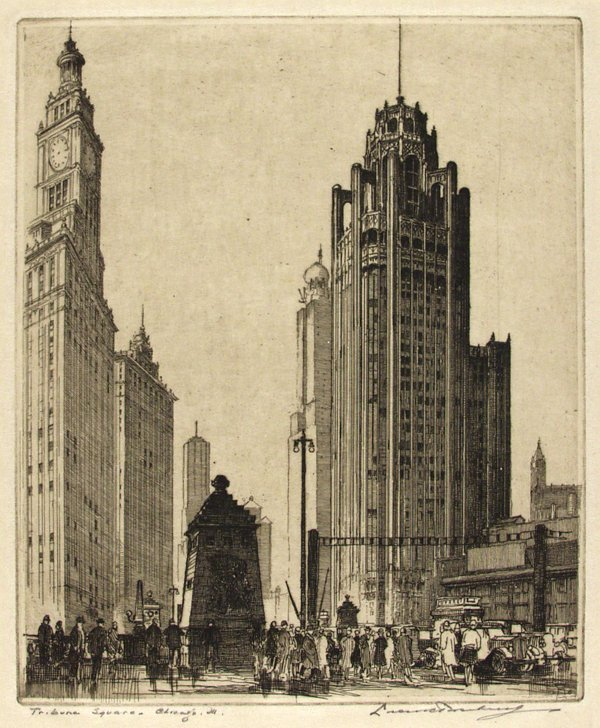 303: LEON PESCHERET (English/American) Etching Chicago