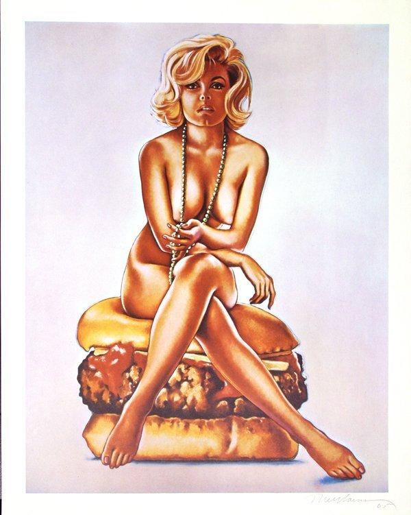 310: MEL RAMOS (American) Color lithograph, Hamburger