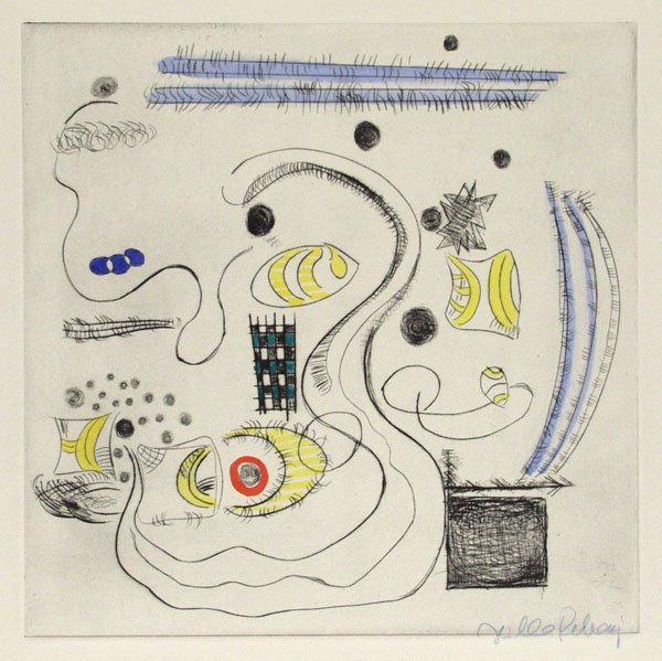 311: HILLA REBAY (American) Color drypoint, Abstract