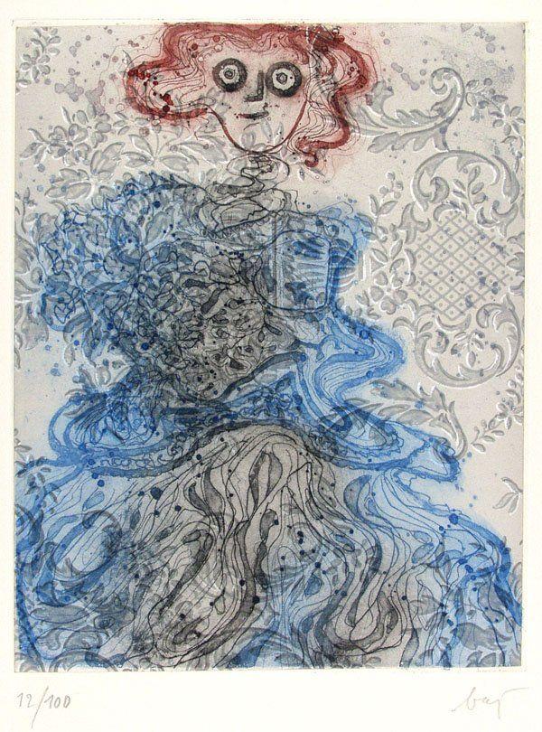 ENRICO BAJ (Italian) Color etchings and aquatints