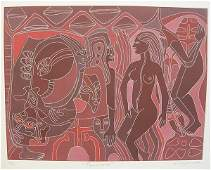 665: KARIMA MUYAES (Mexican) White line color etching