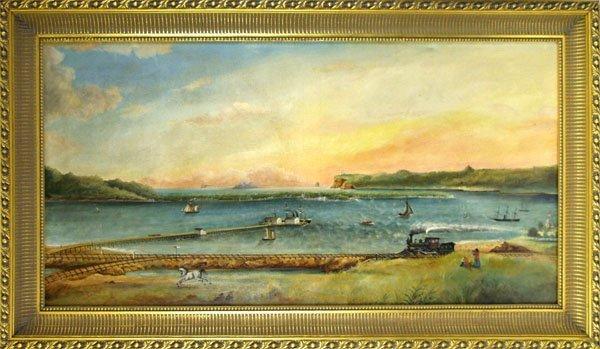 1: 19TH CENTURY AMERICAN FOLK ARTIST Oil on canvas l
