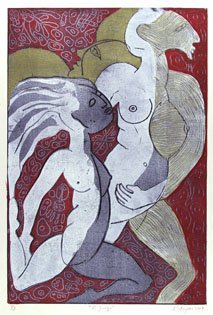1240: KARIMA MUYAES (Mexican) Color linoleum cut