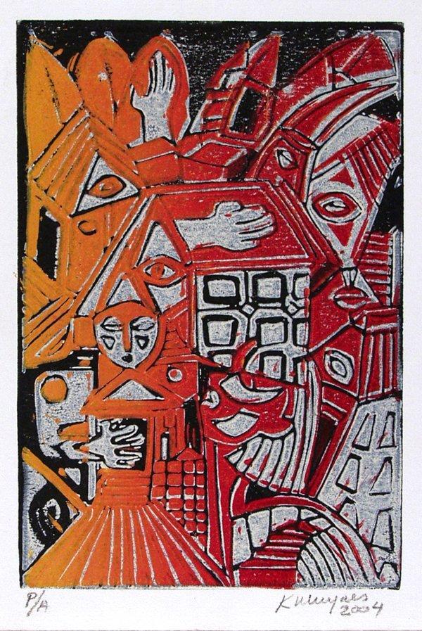 212: KARIMA MUYAES (Mexican) Color linocut