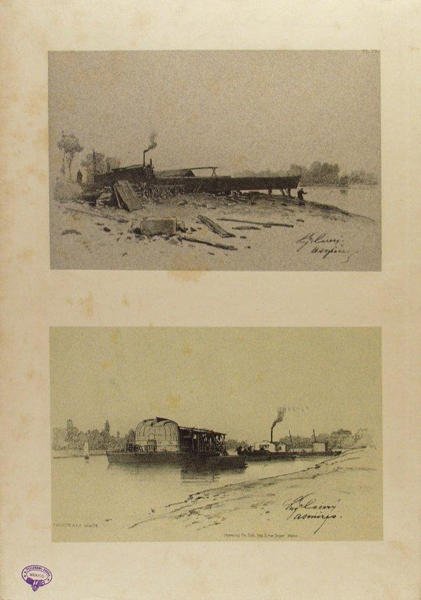6: EUGENE CICERI (American) Tinted lithograph