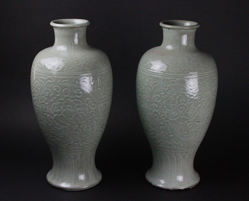 TWO OF CHINESE LONGQUAN CELADON VASES