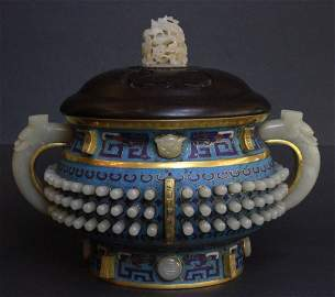 CHINESE CLOISONNE CENSER WITH MASSIVE WHITE JAY INLAY