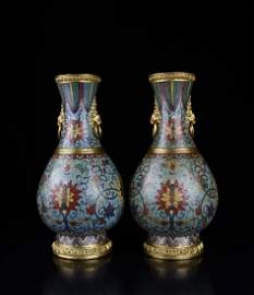 A Prir of Champleve And Gilt-Bronze Enamelled Vase