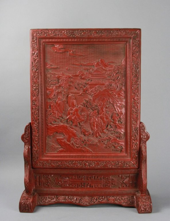 CHINESE CINNABAR SCREEN