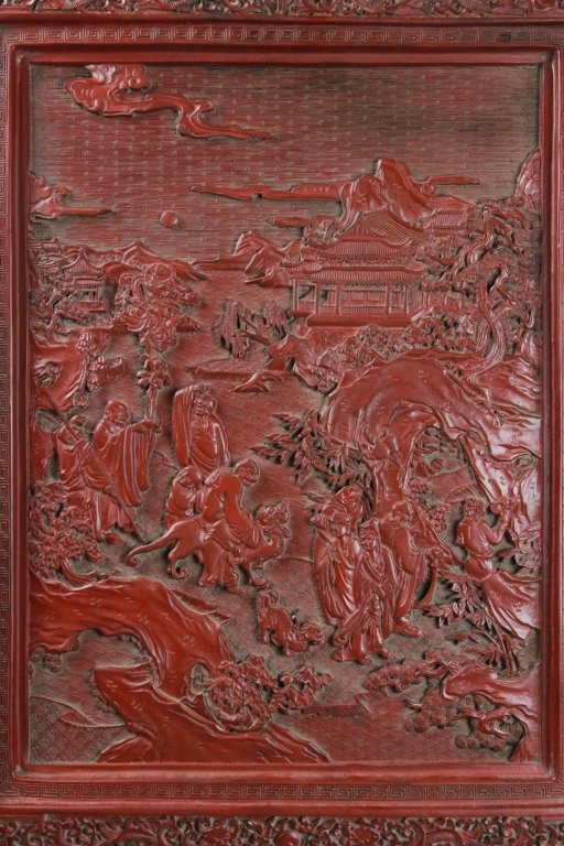 CHINESE CINNABAR SCREEN - 2