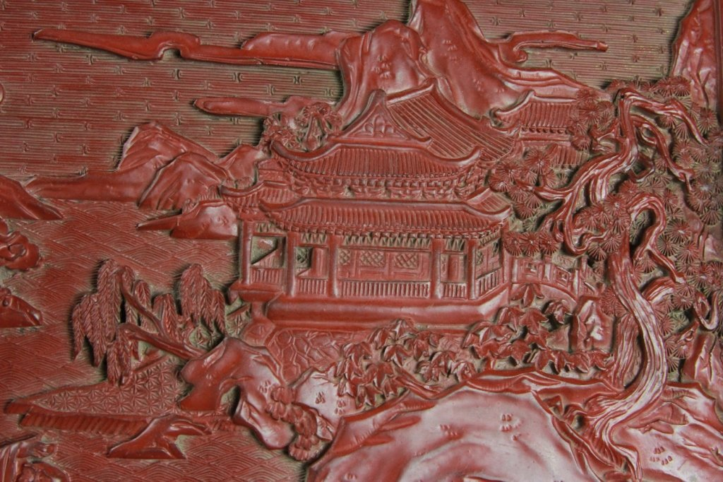 CHINESE CINNABAR SCREEN - 7