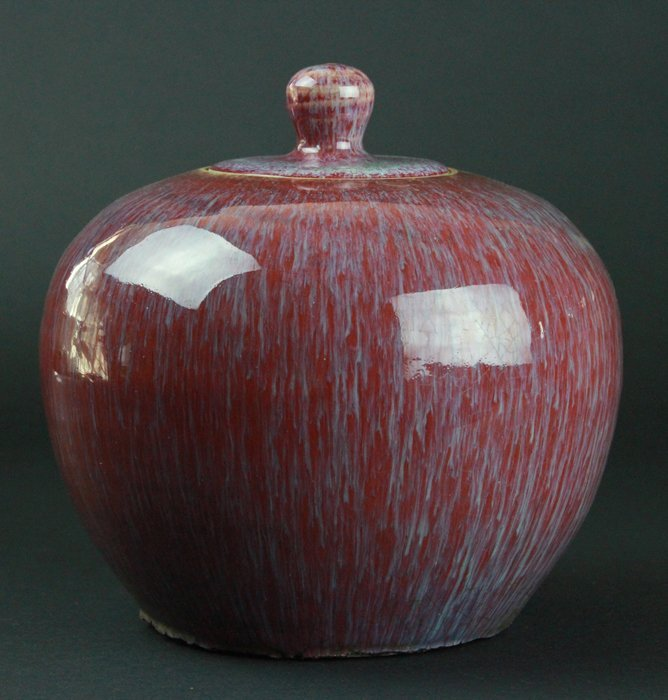 Chinese Red-Glazed Ware Jar With Cover