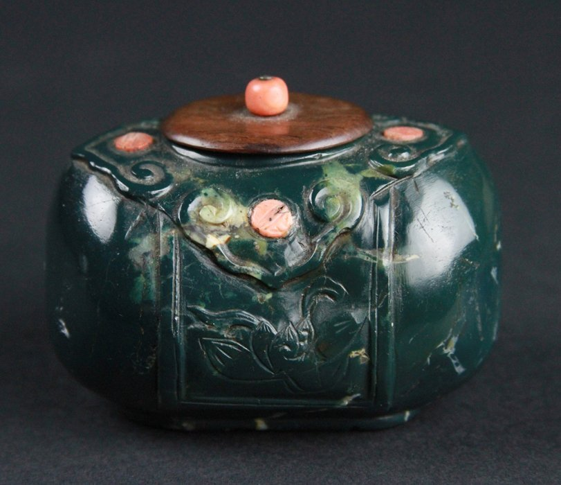 Chinese Jade With Coral Water pot