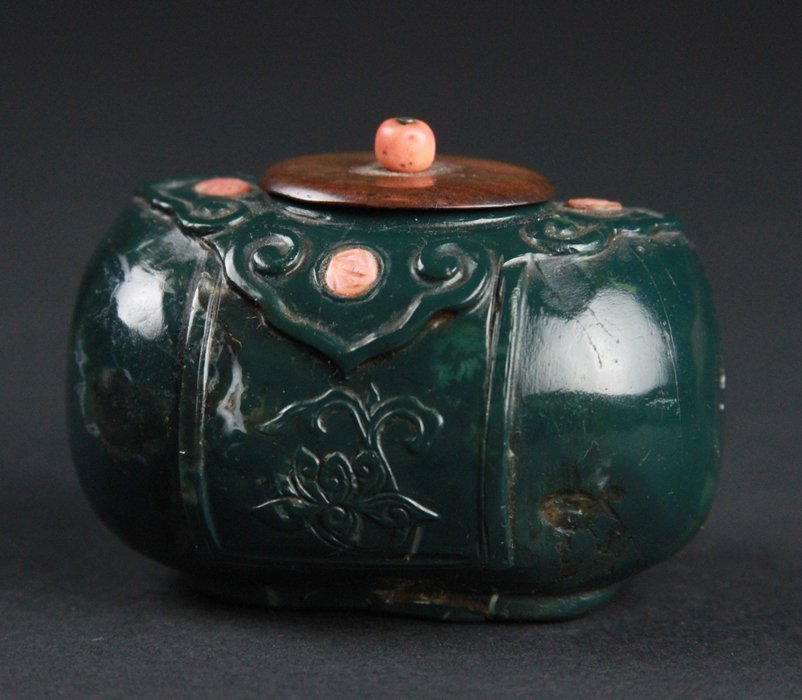 Chinese Jade With Coral Water pot - 3