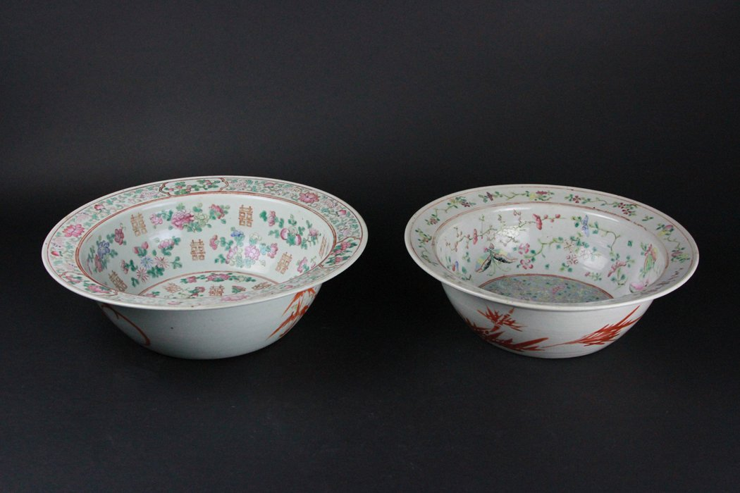 Two Lager Chinese Famille Rose Bowl