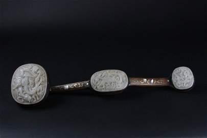 A White Jade And Dark Wood Ruyi Sceptre