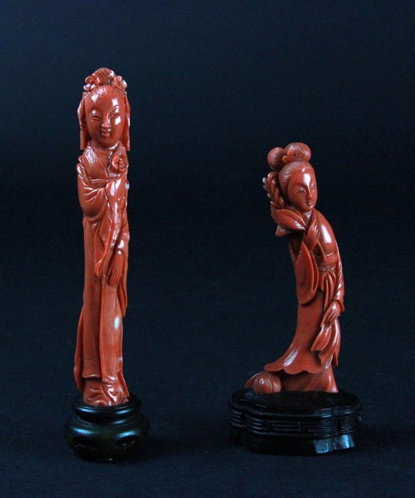 Two Carved Coral Lady Figures