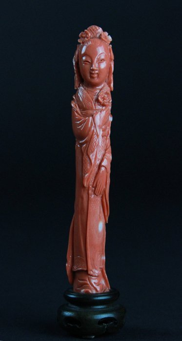 Two Carved Coral Lady Figures - 2