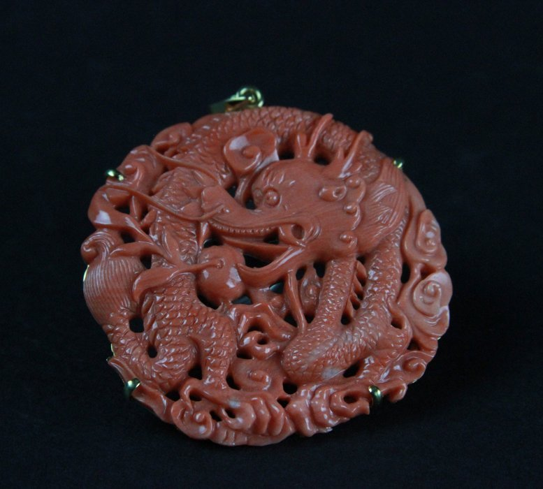 A Carved Coral Pendant - 2