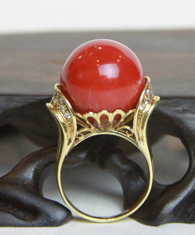 14K  Coral & Diamond Ring