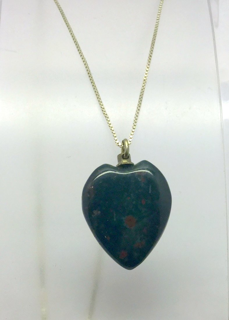 sterling silver bloodstone heart necklace