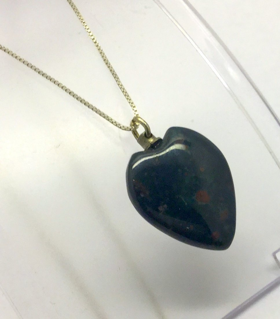 sterling silver bloodstone heart necklace - 2