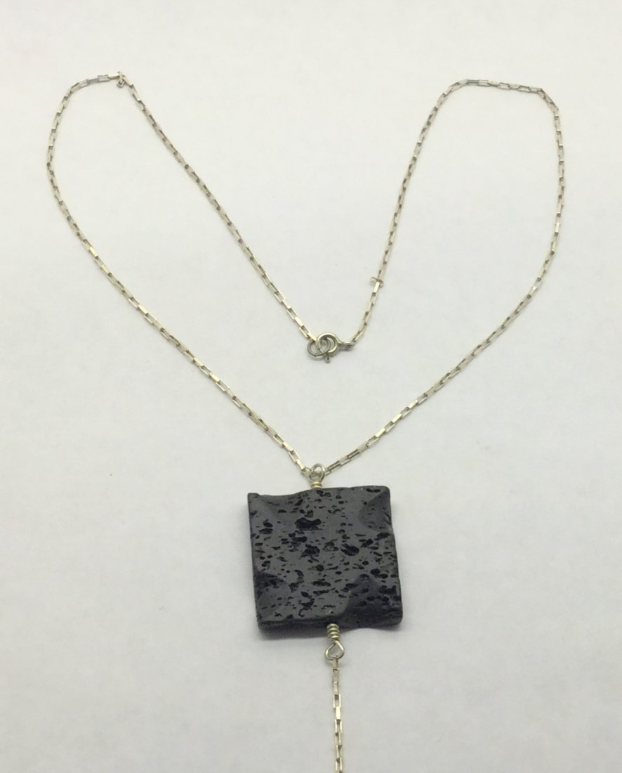 sterling silver lava stone necklace