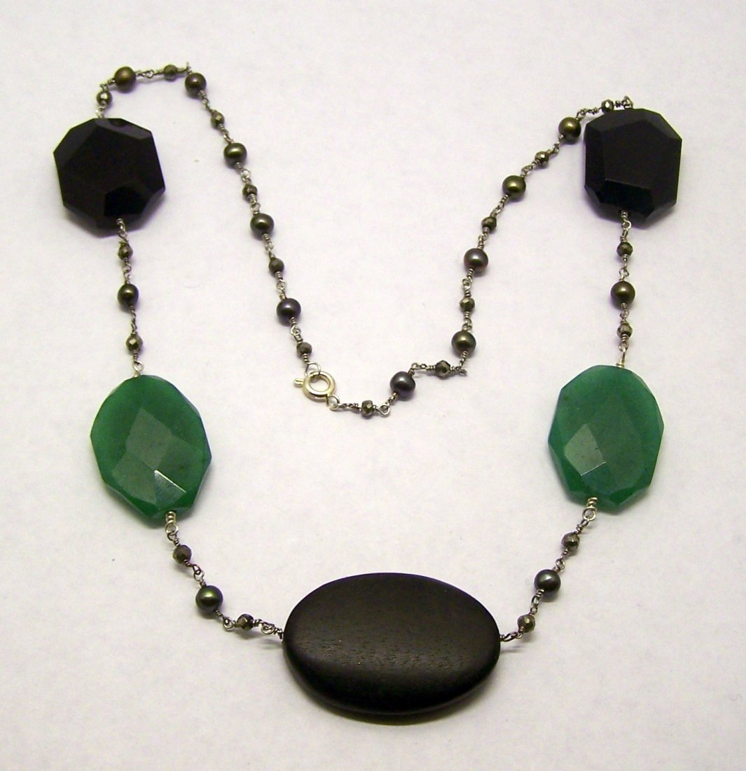 Pearl Pyrite Wood Aventurine Necklace