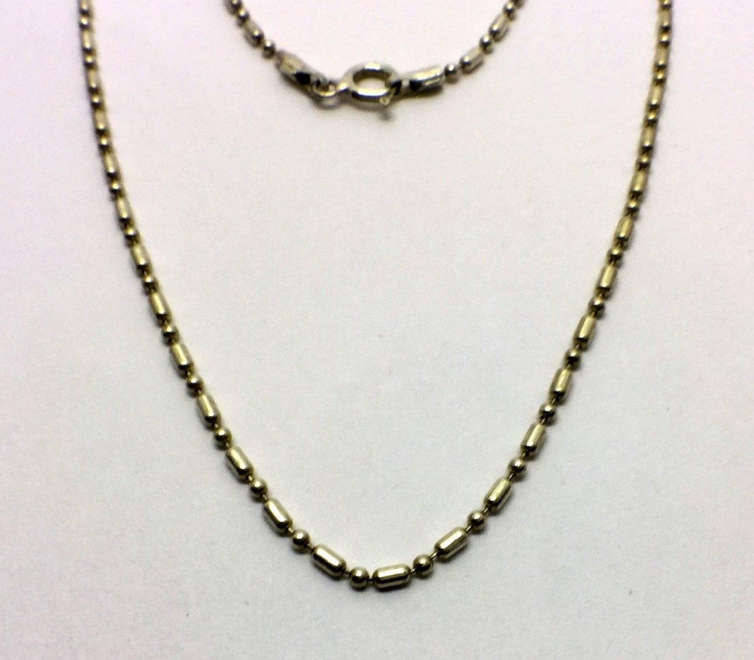 sterling silver beaded chain necklace # 94