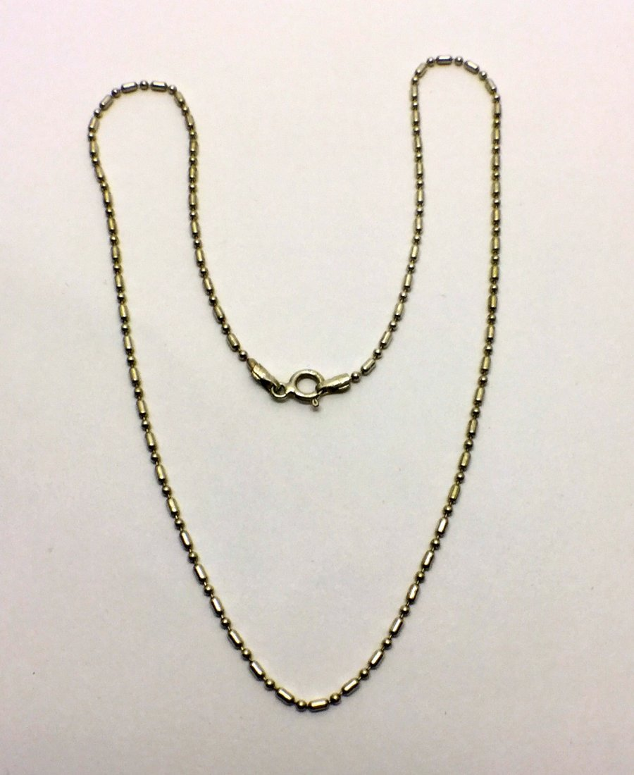 sterling silver beaded chain necklace # 94 - 2
