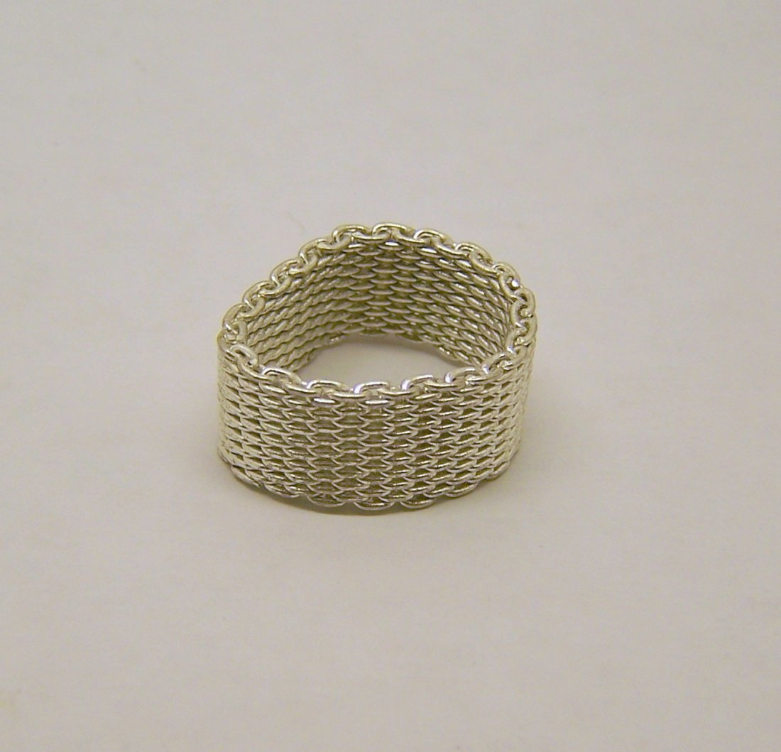 silver plated mesh chain ring