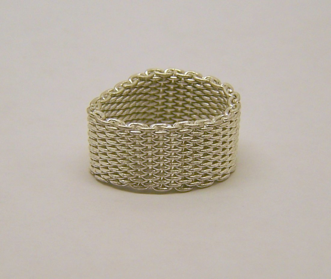silver plated mesh chain ring - 2