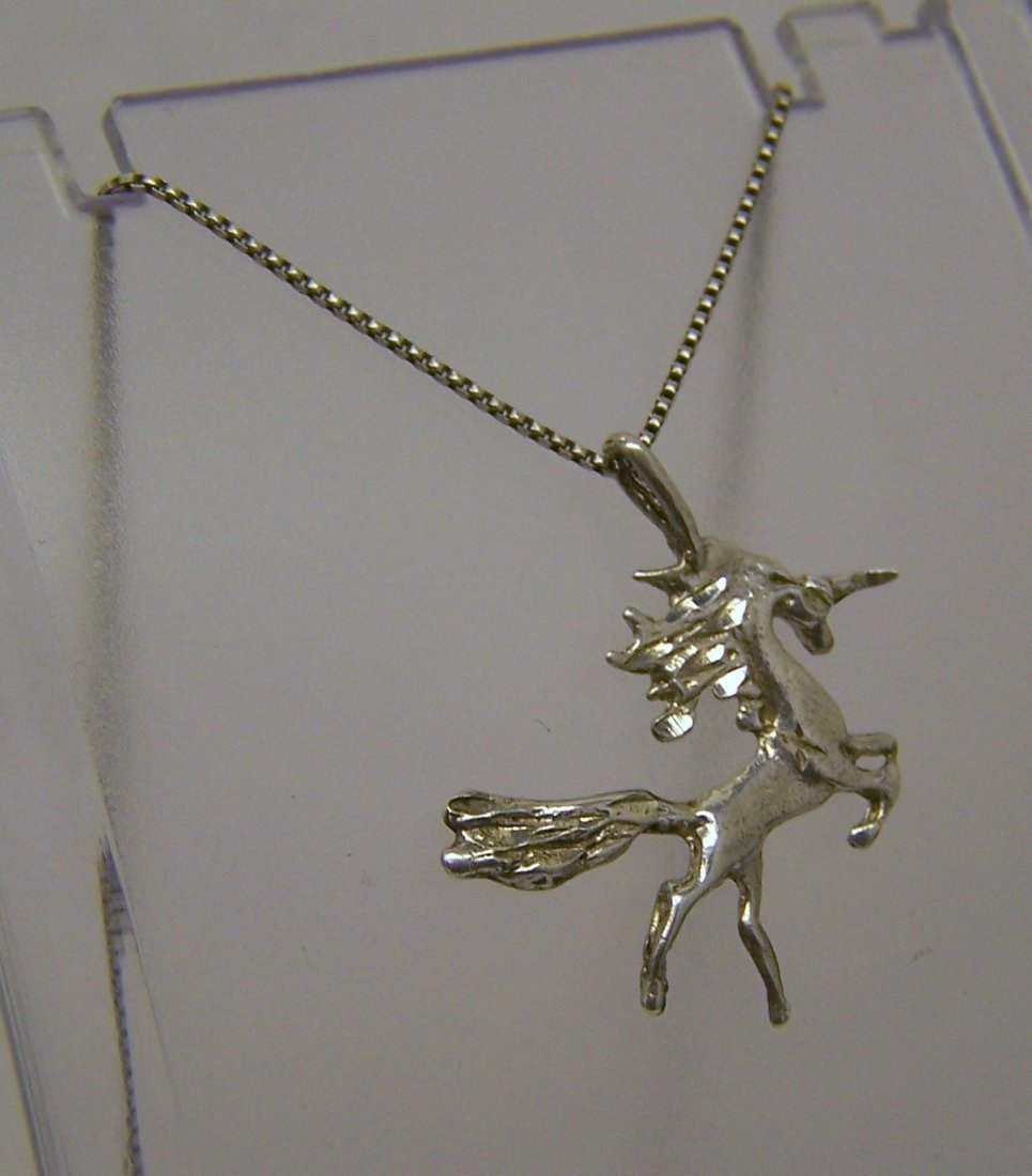 sterling silver unicorn necklace - 2