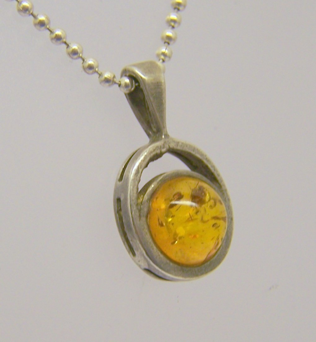 sterling silver amber pendant - 2