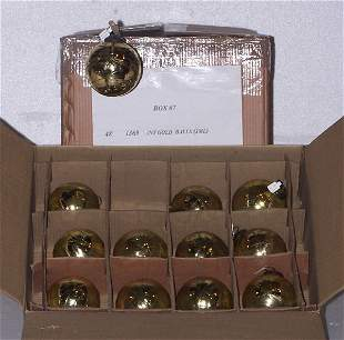 Antique Gold Blown Glass Ball Ornament , Qty 48