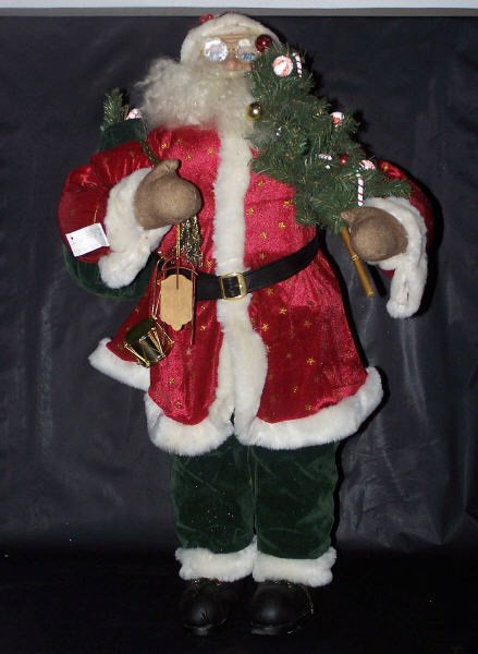 "110: Red & green Velvet SANTA, 34"" Tall w/ Toys & Tree"