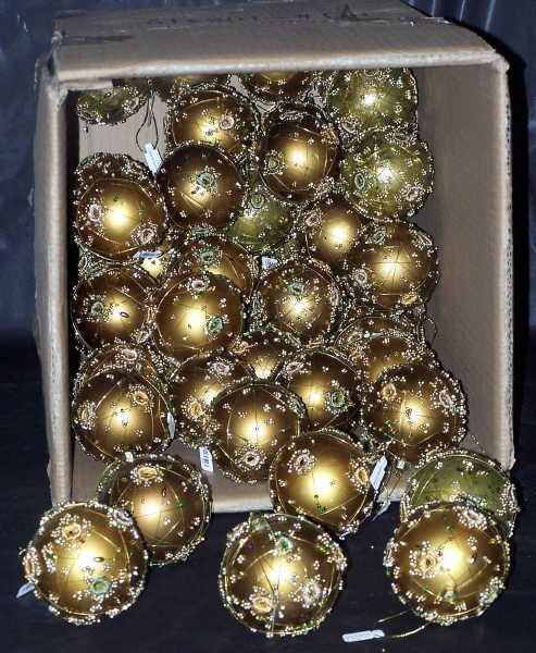 114: Gold & Bronze Wire Wrapped Balls, Qty 52