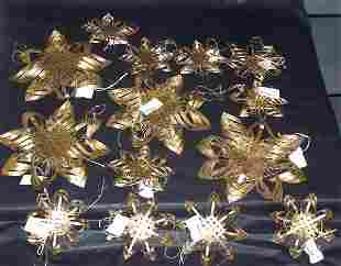 Woven Gold Star Ornaments, Qty 14