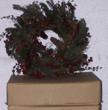 "118: Holly Berry & Twig Wreath(s) 22"" Qty 3 THREE!!!"
