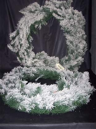 "Pine Arctic Flocked Wreaths, TWO, 24""Heavy Flocked"