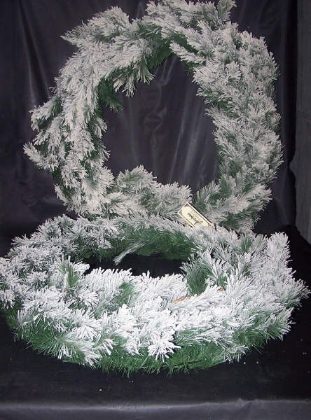 "119: Pine Arctic Flocked Wreaths, TWO, 24""Heavy Flocked"