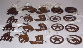 121: Western Laser Cut Iron Ornaments, Qty 45