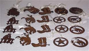 Western Laser Cut Iron Ornaments, Qty 45