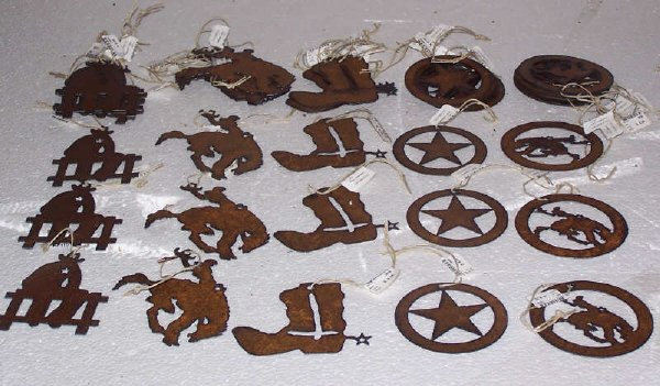 121: Western Laser Cut Iron Ornaments, Qty 45