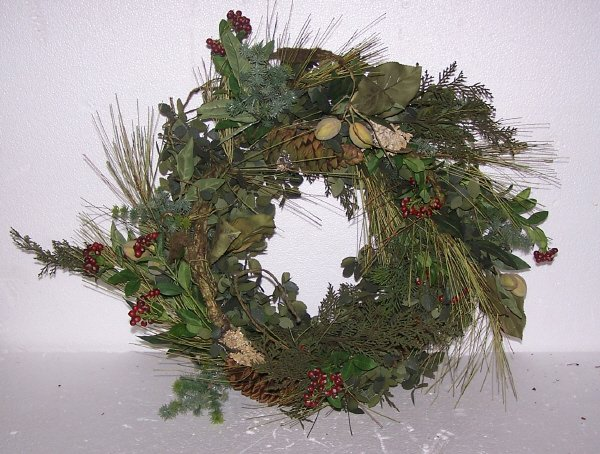 122: Woodland Bounty Eucalyptus Wreath, Qty 2, 24""