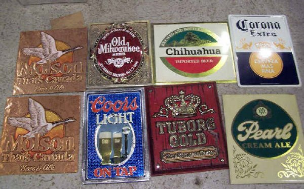 12: Box of  Six Mixed Brands Beer Signs