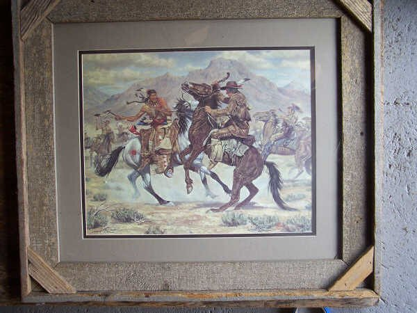 18: Framed Print of Cowboy & Indian Fight