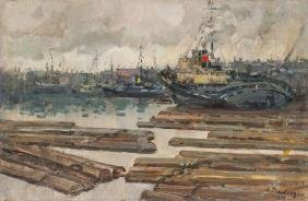 Ships in port, Otto Pladers (1897-1970)