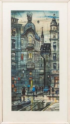 Theatre Square in Riga, Janis Brekte (1920-1985)